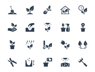 Fototapeta Vector plant growing and cultivating icon set