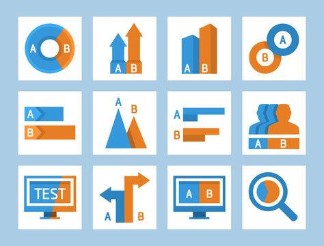 A/B split testing and comparison icon set
