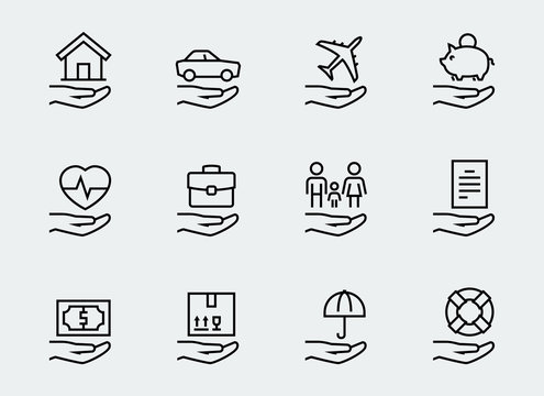 Insurance related icon set in thin line style