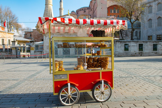 Cart with simits Turkish bagels in Istanbul