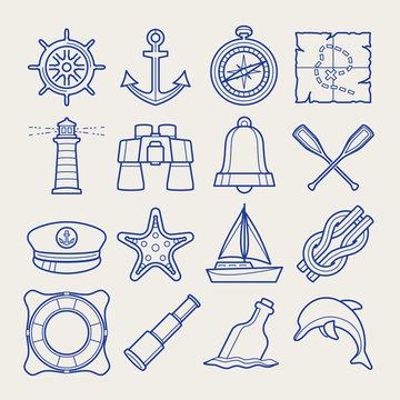 Marine icon set in thin line style
