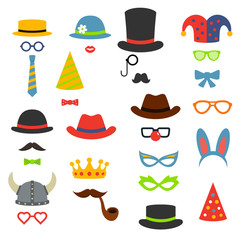 Birthday party photo booth props, vector flat style illustration
