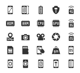 Smartphone parameters icon set: screen dimensions, resolution, ROM and RAM capacity, battery, GPS, camera and video, protection, number of sim cards and other