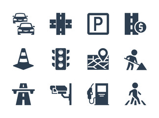 Vector road traffic related icon set Fotomurales