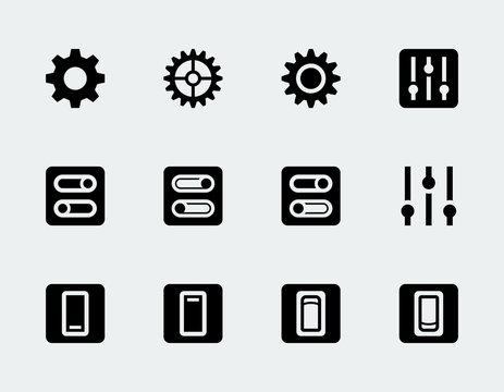 Vector settings and switches icon set