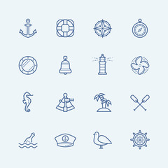 Nautical vector icon set