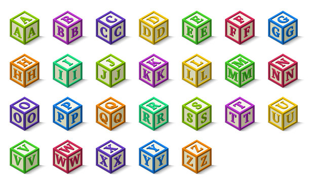 Multicolored alphabet or abc blocks in isometric style, from A to Z