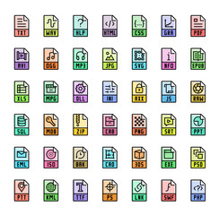 File format extensions colorful vector icon set