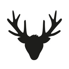reindeer head with big antlers silhouette isolated on white background vector illustration EPS10