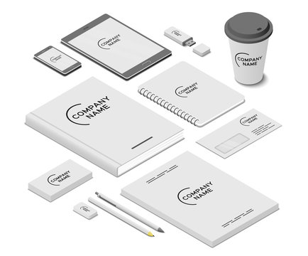 Stationery and accessories mock-up with template logo. Branding design. Mobile app, flash drive, book, paper cup, writing pad, business cards, letter envelope, leaflets, pen, pencil and eraser