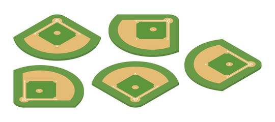 Baseball field. Isometric vector illustration