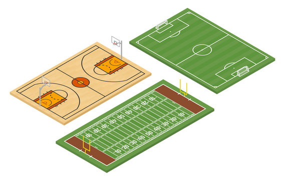 Isometric american football and soccer fields and basketball court