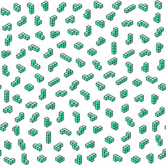 Green tetromino blocks in isometry on white background vector seamless pattern