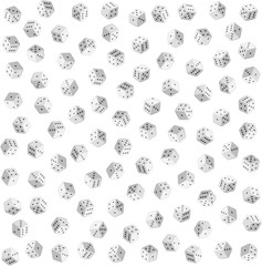 White dice on white background vector seamless pattern