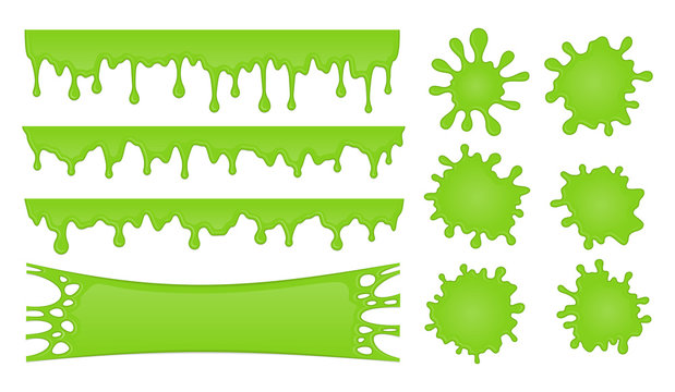 Vector set of slime drops and splash stains