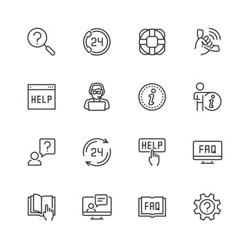 Help and support vector icon set in thin line style