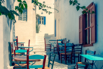 Traditional mediterranean colorful street on Amorgos island in dreamy tones, Greece