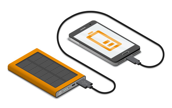 Vector isometric illustration of solar powerbank charging a smartphone