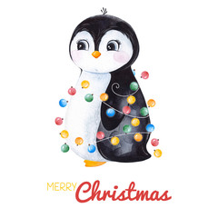 Cute watercolor penguin with Christmas garland.Hand painted holiday illustration.Perfect for your Christmas and New Year project,invitations,greeting cards,wallpapers,blogs etc