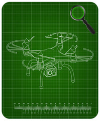 3d quadcopter model on a green