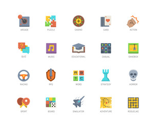 Video game genres vector icons set in flat design style