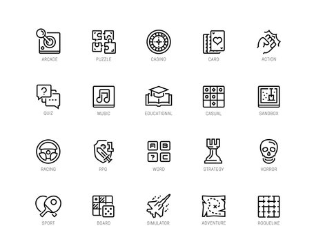 Video game genres vector icons set in editable line style