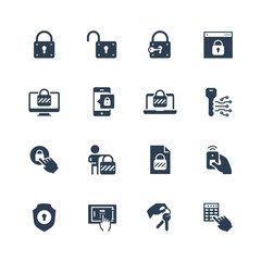 Lock and unlock vector icon set in glyph style