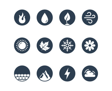 Vector round icon set of fire, water, earth and air elements and seasons of year in glyph style