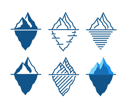 Iceberg vector icons in diffrent styles