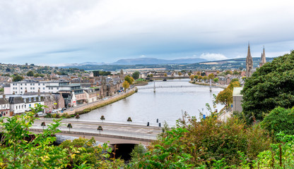 A view to city centre from Inverness Castle grounds, northern Scotland