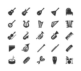 Obraz Musical instruments vector icon set in glyph style - fototapety do salonu