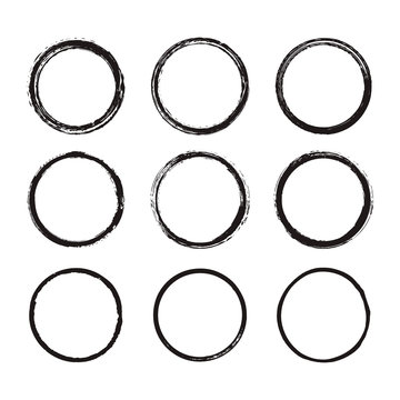 Vector set of round frames painted with an ink brush