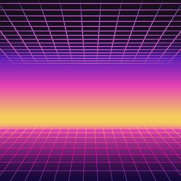 Retro 80s futuristic design. Neon sunset background with laser grids