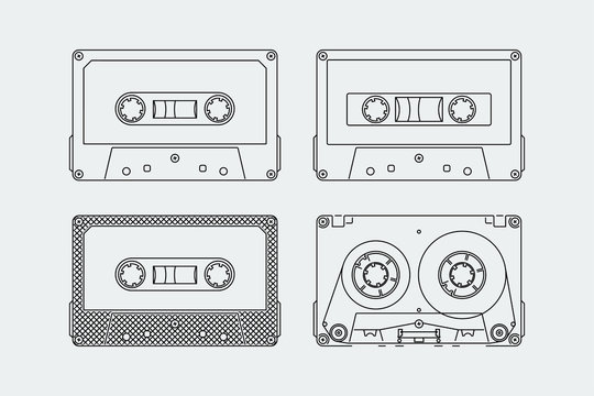 Silhouettes of compact cassettes or tapes in outline style