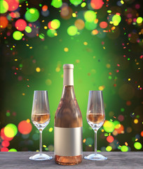 Bottle and two glass of champagne decorated on wooden floor,3d rendering
