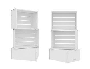 white empty showcase isolated on a white background, 3D rendering