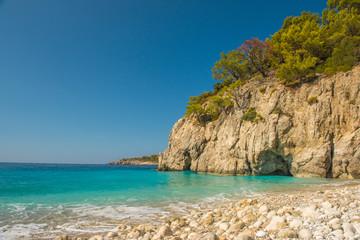 Coastline at Mediterranean sea near Fethiye Kabak Turkey