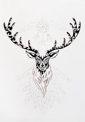 linear ornamental drawing of deer with horns, sacred animal symbol.