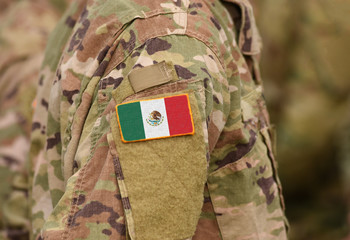 Mexico flag on soldiers arm (collage).