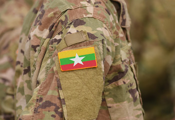 Myanmar and also known as Burma flag on soldiers arm (collage).