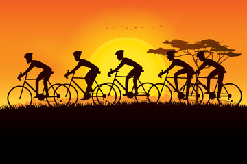 Group of cyclist riding on the meadows and plains with scenery of sunset on the horizon over the mountain landscape. Vector illustration of cycling sport concept