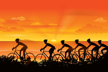 Group of cyclist riding on the road with scenery of sunset on the horizon over the sea landscape. Vector illustration of cycling sport concept