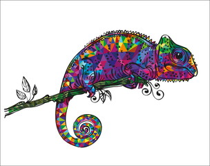 drawing of a colorful chameleon