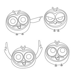 Vector set of cartoon owls in line art style design for painting.