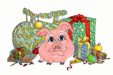 Весёлая симпатичная розовая свинка на белом фоне в окружении новогодних подарков.Символ года 2019.