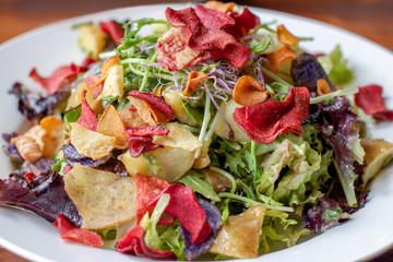 colourful and healthy salad with potato