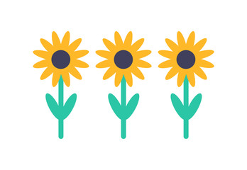 Sunflower Set Front View Isolated Vector Icon