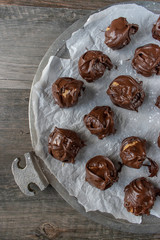 rows of chocolate covered peanut butter balls candy flat lay