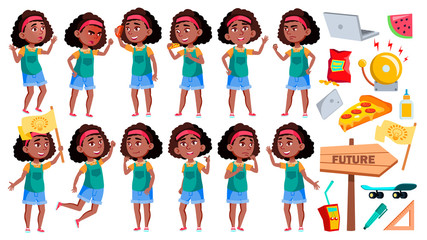 Girl Schoolgirl Poses Set Vector. Black. Afro American Pupil. For Banner, Presentation Design. Isolated Cartoon Illustration