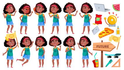 Girl Schoolgirl Poses Set Vector. Black. Afro American Pupil. For Banner, Presentation Design. Isolated Cartoon Illustration